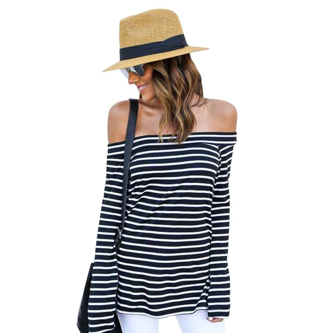 Gillberry Women Summer Striped Off Shoulder Long Sleeve Blouse Top T Shirt Black) WY5462
