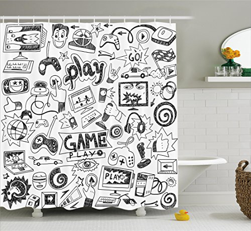 Ambesonne Video Games Shower Curtain Set, Black and White Sketch Style Gaming Design Racing Monitor Device Gadget Teen 90's, Fabric Bathroom Decor with Hooks, 70 Inches, Blak (Minecraft Shower Curtain)