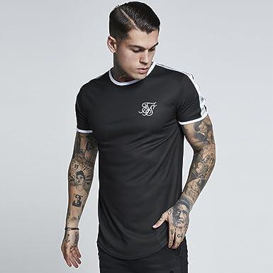 Sik Silk Hombre Camiseta de gimnasio curved hem, Negro, Small: Amazon.es: Ropa y accesorios