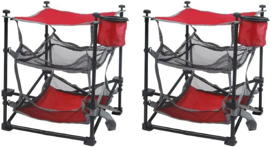 Ozark Trail Folding End Table Durable Steel Frame with Removable Swivel Cup Holder set of two 2