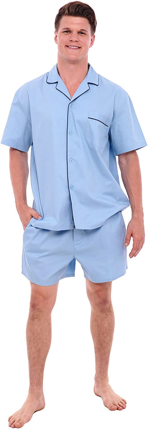 Alexander Del Rossa Mens Woven Cotton Pajama Set, Button-Down Shorts Pjs, 3XL Light Blue (A0697LBL3X)