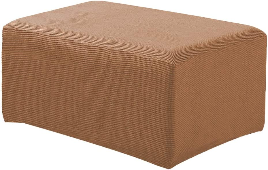 Grey Stretch Storage Ottoman Slipcover Spandex Elastic Rectangle Footstool Sofa Cover for Living Room