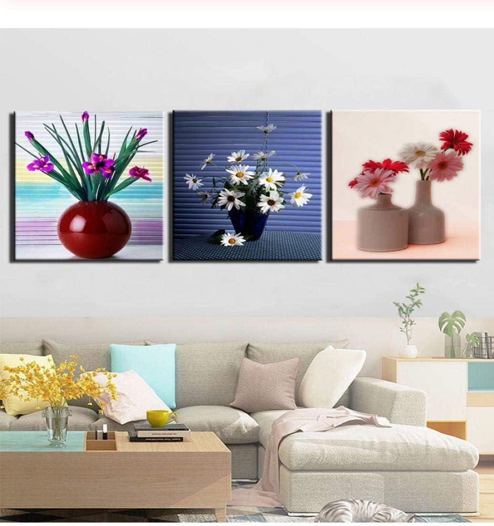 liafa Impresiones De Pintura De Arte De Pared De Lienzo Bodegones Cuadros De Flores Abstractas Arte Moderno De 3 Piezas para Decoración del Hogar Enmarcado Listo para Colgar