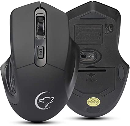 EDTO 2.4GHz Wireless Optical USB Gaming Mouse 2400DPI Rechargeable Mute Mice Laptop Computer Cordless Mouse with Nano Receiver