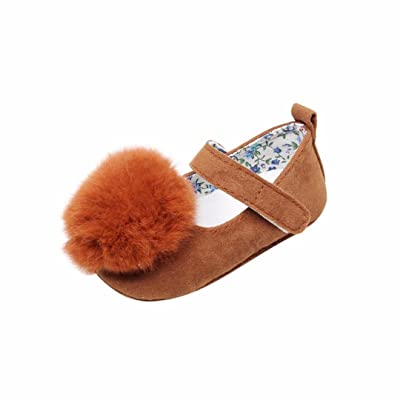 Anshinto Baby Girls Cute Hairball Dance Shoes | Little Girls Soft Sole Shoes | Spring Baby Girl Sneakers