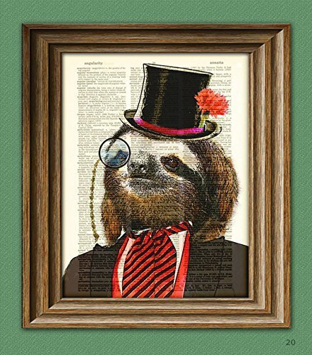 Dandy-Sloth-with-top-hat-and-monocle-in-suit-illustration-beautifully-upcycled-dictionary-page-book-art-print