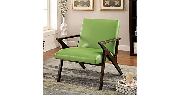 Amazon Furniture Of America Zelina Modern Leatherette Accent Chair Apple Green Kitchen Dining