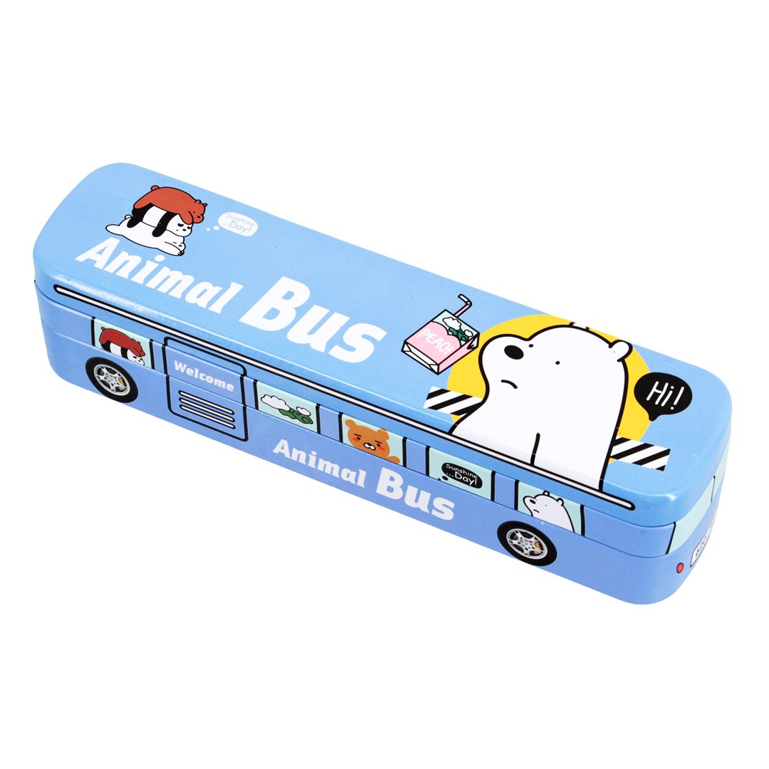 Multifit Boys Multi-Functional Racing Animal Bus Pencil Case Stationery Box Pencil Holder Storage(Light Blue)