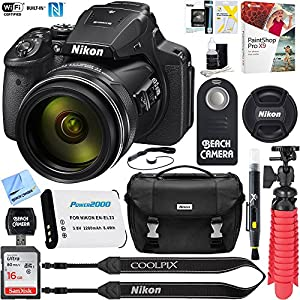 Nikon COOLPIX P900 16MP 83x Optical VR Zoom Digital Camera (Certified Refurbished) + 16GB Memory & Accessory Bundle