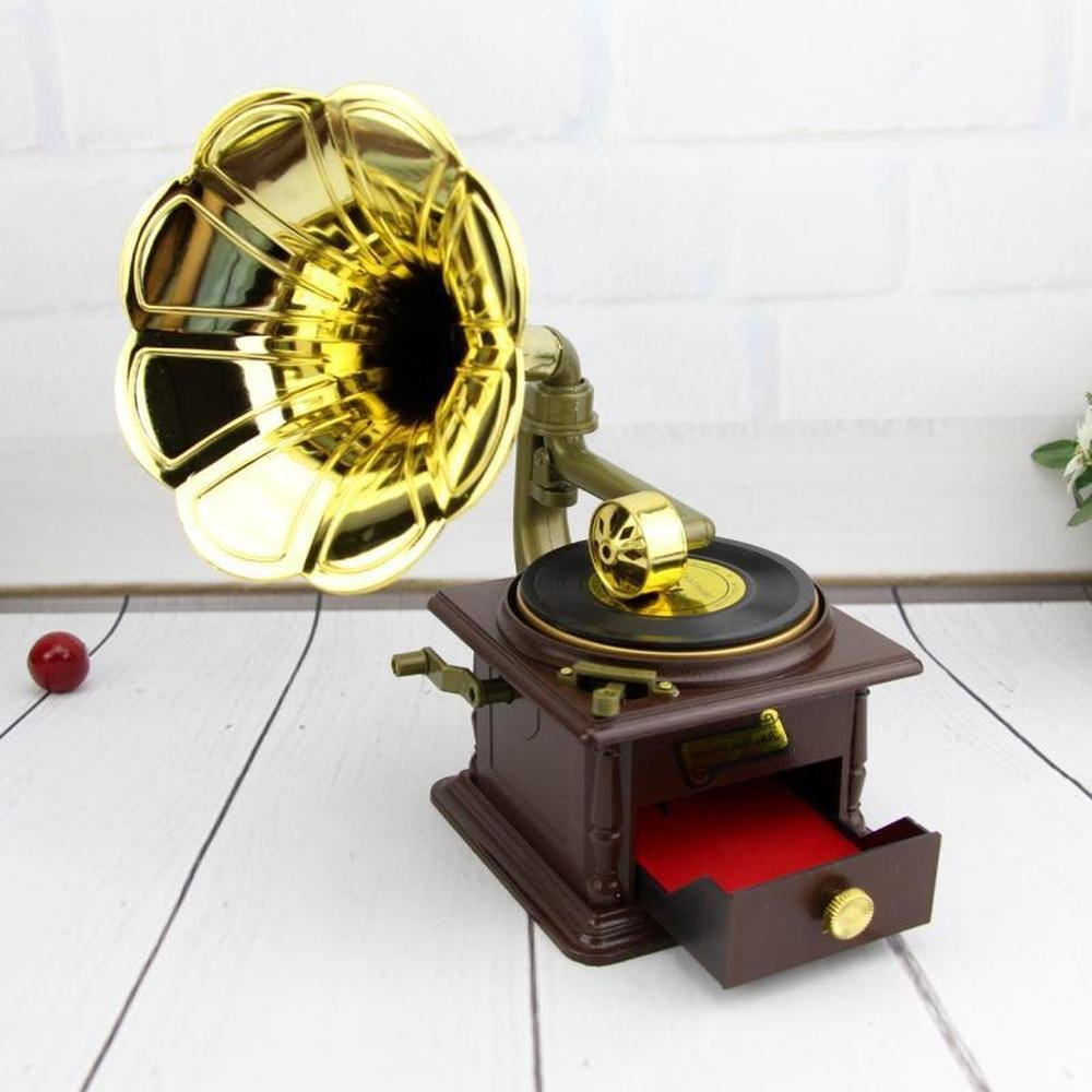 BWLZSP 1PCS Retro phonograph music box projector in Europe and America; personality trumpet home decor north American style LU628122 by BWLZSP