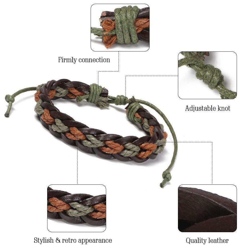 6Pcs Adjustable Fashion Punk Braided Men /& Women Rope Bracelet Cuff Vintage Bracelets Wrap Set Series flintronic Leather Bracelet