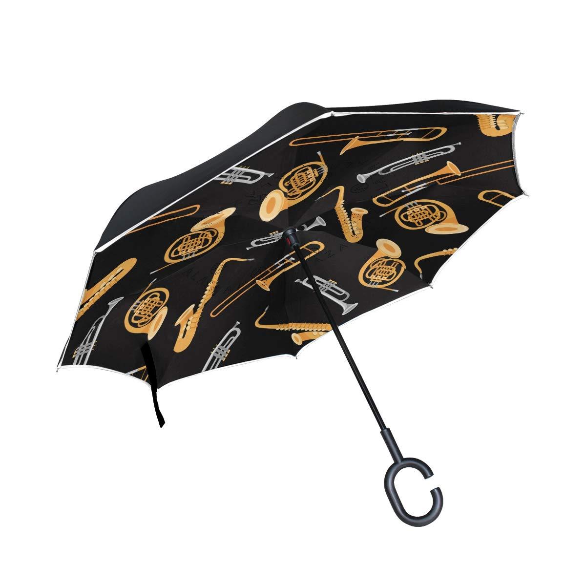 DERLONKAJE 2層 反転 絞り染め スパイラル カラフルパターン 傘 車 リバース 防風 雨傘 車 アウトドア C型ハンドル One Size Trombone Trumpet Saxophone French Horn B07LF822QY