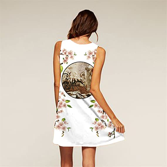 Amazon.com: BCVHGD Floral 3D Print Vintage Dress Robe Sexy Vestidos Casual Boho Beach Summer Party: Clothing