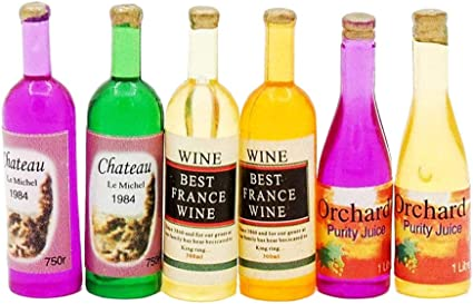 6Pcs Colorful Wine Bottles Miniature For 1:12 Dollhouse Kitchen  Decor Hot
