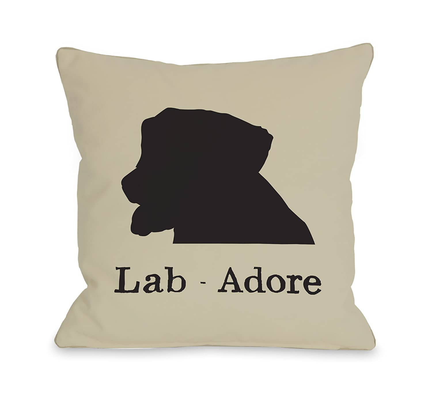 One Bella Casa One Bella Casa Lab Adore Oatmeal Black Pillow 18 by 18-inch