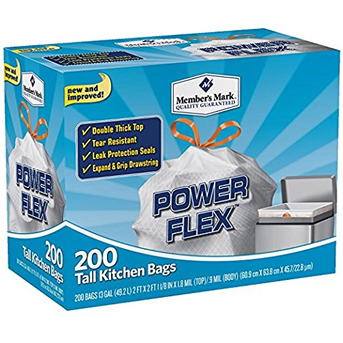 Member's Mark 13 gal Power Flex, Leak Protection, Tall Kitchen Simple Fit Drawstring Bags