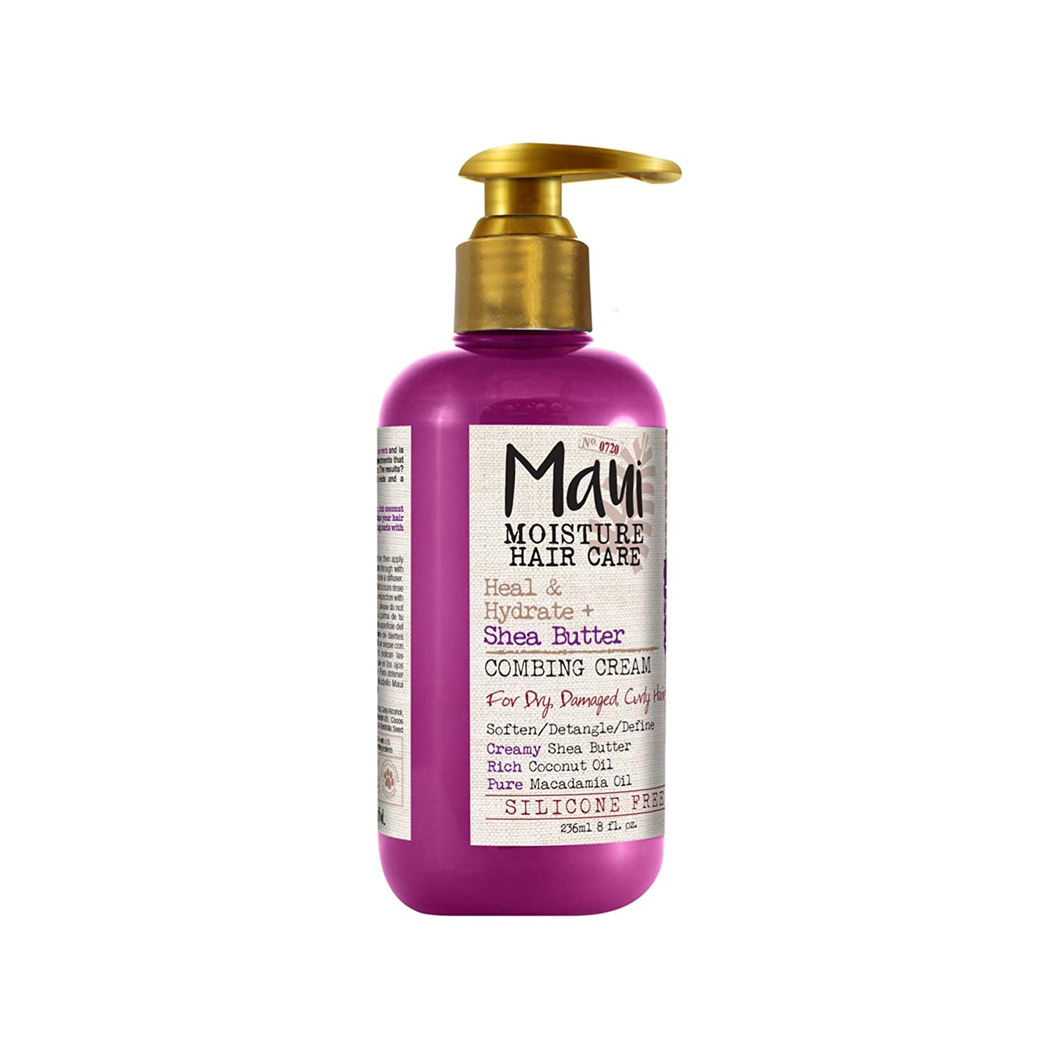 Maui Moisture Heal & Hydrate + Shea Butter Vegan Combing Cream for Thick Curly Hair, Silicone- & Sulfate-Free Leave-In Hair Treatment with Coconut & Macadamia Oils to Define Curls, 8 oz: Beauty