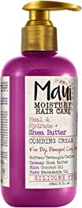 Maui Moisture Heal & Hydrate + Shea Butter Vegan Combing Cream for Thick Curly Hair, Silicone- & Sulfate-Free Leave-In Hair Treatment with Coconut & Macadamia Oils to Define Curls, 8 oz
