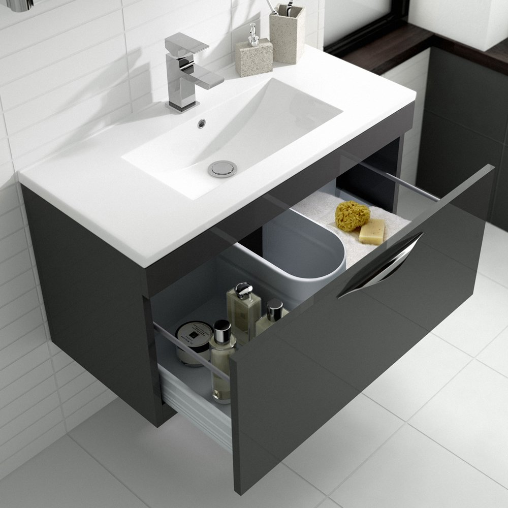 Minimalist gloss white vanity unit 600 800 or 1000mm - Hudson Reed Memoir Wall Mounted 800mm Wide Gloss Grey Bathroom Vanity Unit Cabinet With Soft Close Drawer Choice Of Ceramic Basin Sink Mid Edged Basin