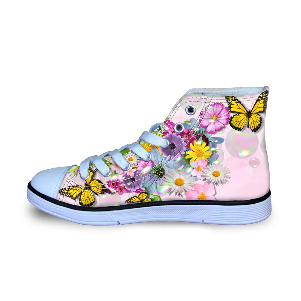 Canvas High Top Sneaker Casual Skate Shoe Boys Girls Illinois Monarch Butterfly Bright Flowers