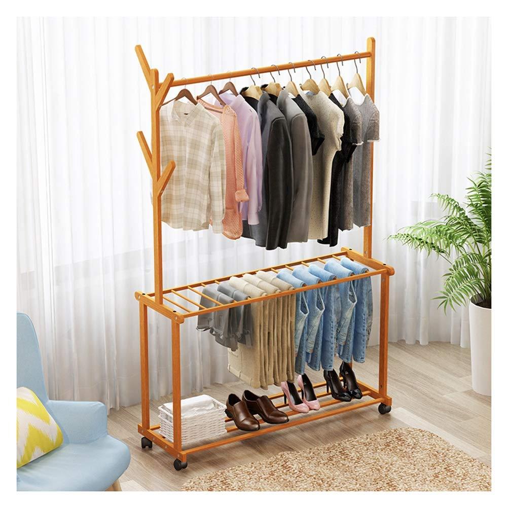 AXIU Simple Floor Coat Rack Bedroom Porch Hanger Simple Clothes Rack Multifunctional Mobile Floor Hanger