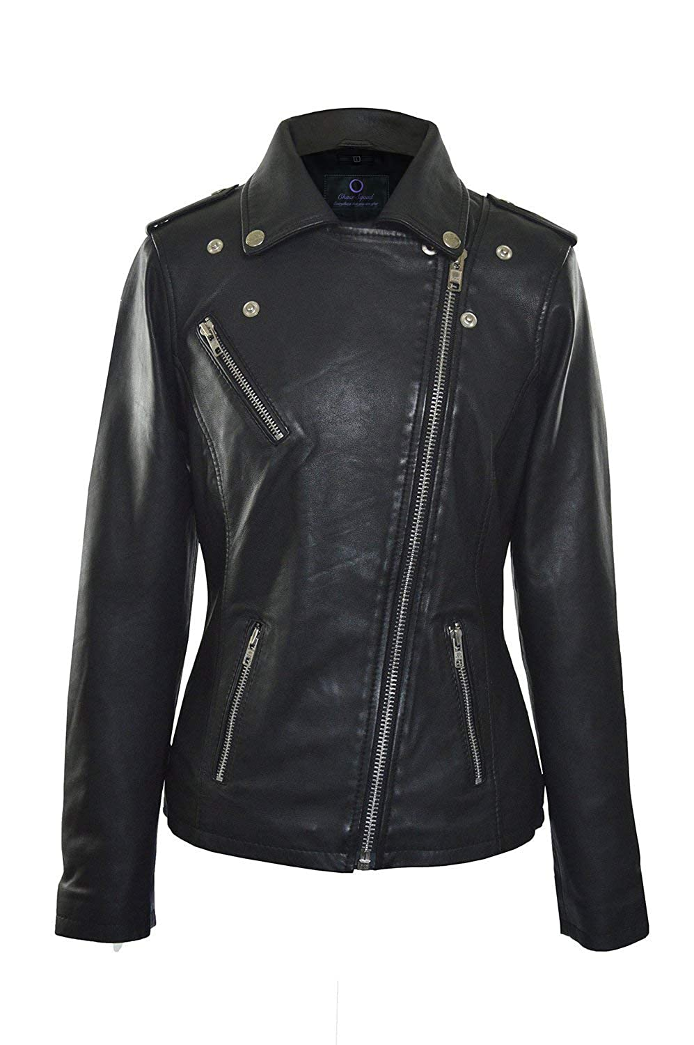 Chase Squad Notch Collar Faux Leather Jacket Women  Black Biker Leather Jacket Women (Faux Leather)
