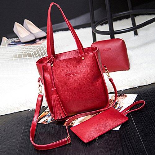 Set Card Handbag Holder bjduck99 Red Women Bag Crossbody Tassels Fashion Wallet 3Pcs Luxury xwPP8qYUO