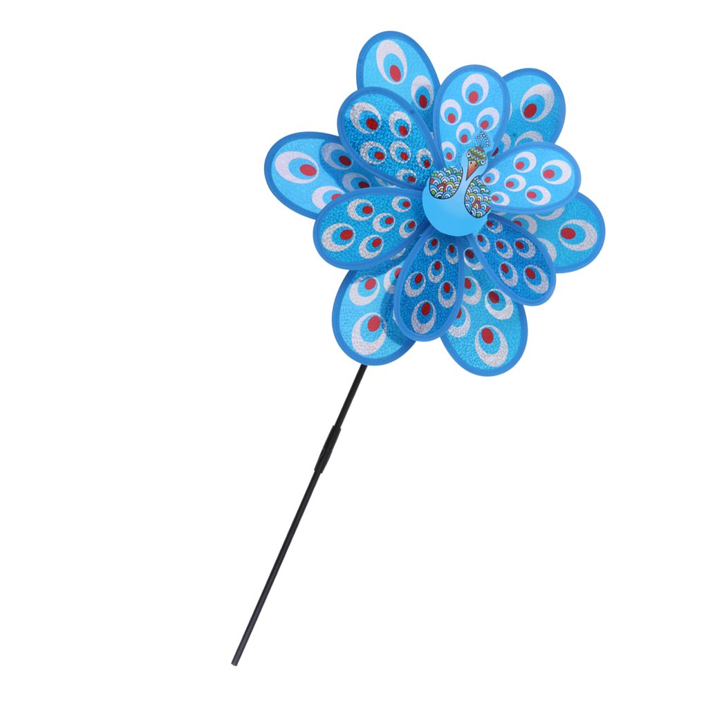 Baoblaze Große Blume Windmühle Windrad Gartenstecker für Garten Rasen Balkon Terrasse Camping Party Hochzeit Dekoration Deko, 3D Pfau Doppelschichte Blumen Windmühle, 38cm* 53cm - Blau
