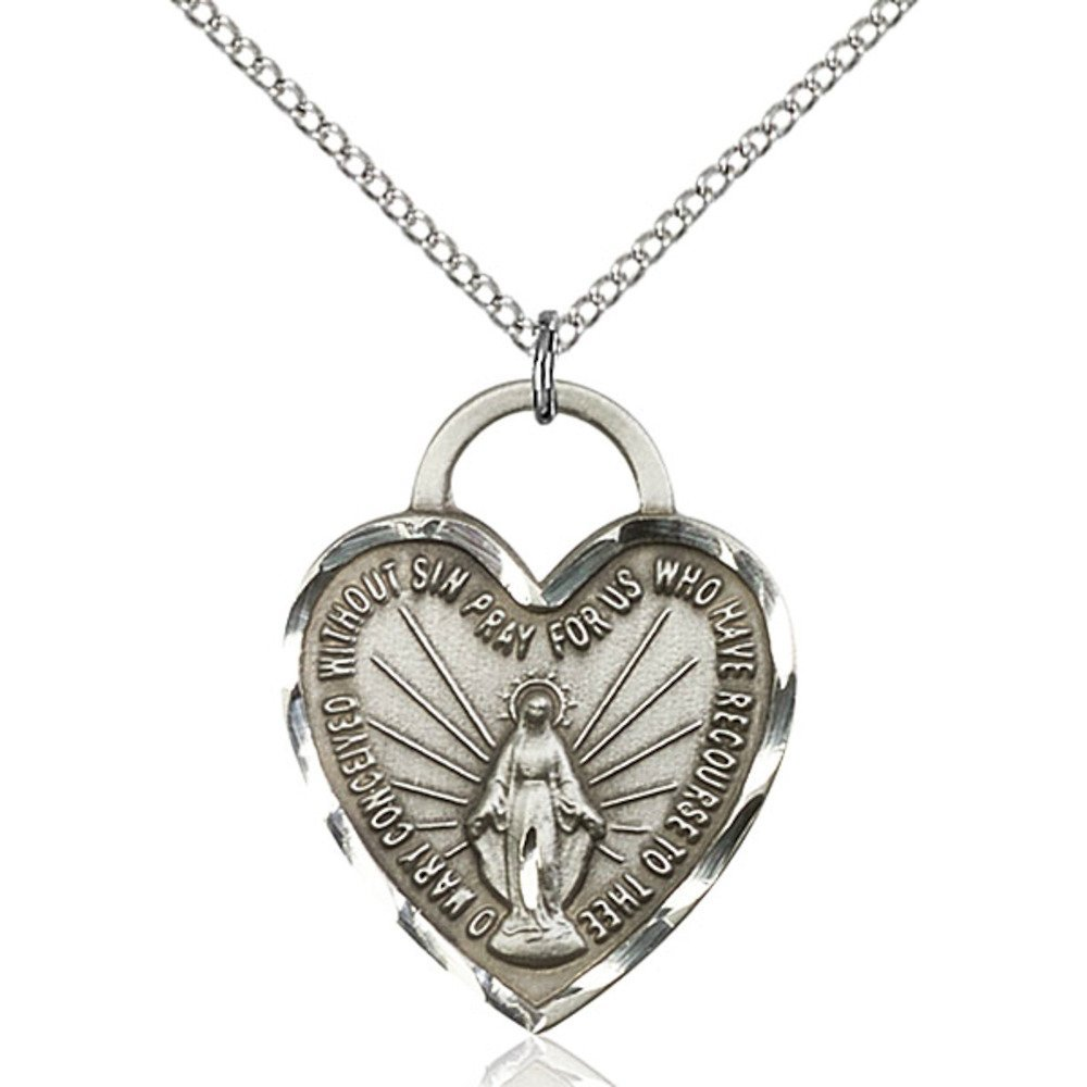 Bonyak Jewelry Sterling Silver Miraculous Heart Pendant 1 x 3//4 inches with Sterling Silver Lite Curb Chain