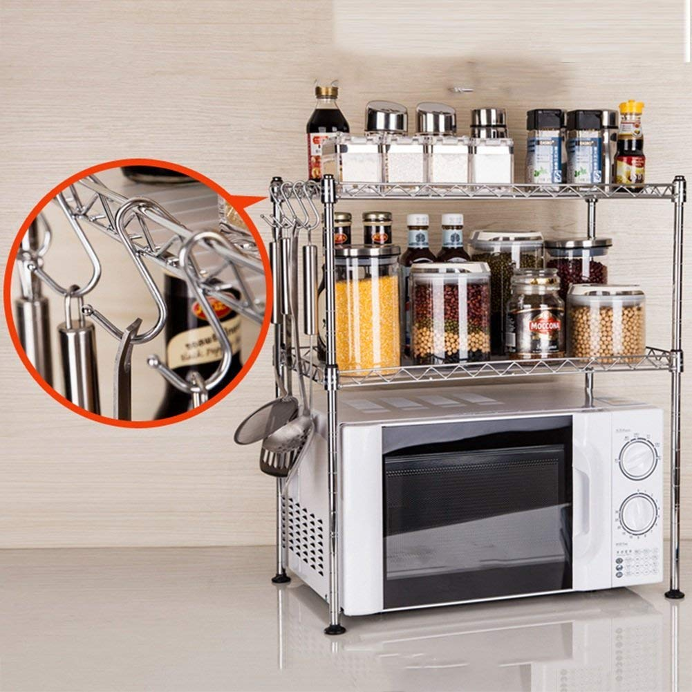 Chuan Han Kitchen Microwave Rack Oven Shelf Seasoning Organizer Stainless Steel Multifunction Home Accessories Save Space Storage 2 Layer 2 Size, b by Chuan Han (Image #3)