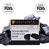 Soulflower Handmade Soap with Deodorizing Charcoal 100% Natural and Vegan Soap for Deodorizing 150 gm