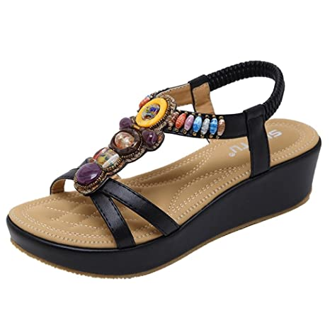 ad90bc6350edf Amazon.com : Sunshinehomely Women's Round Peep Toe Bead Elastic T ...