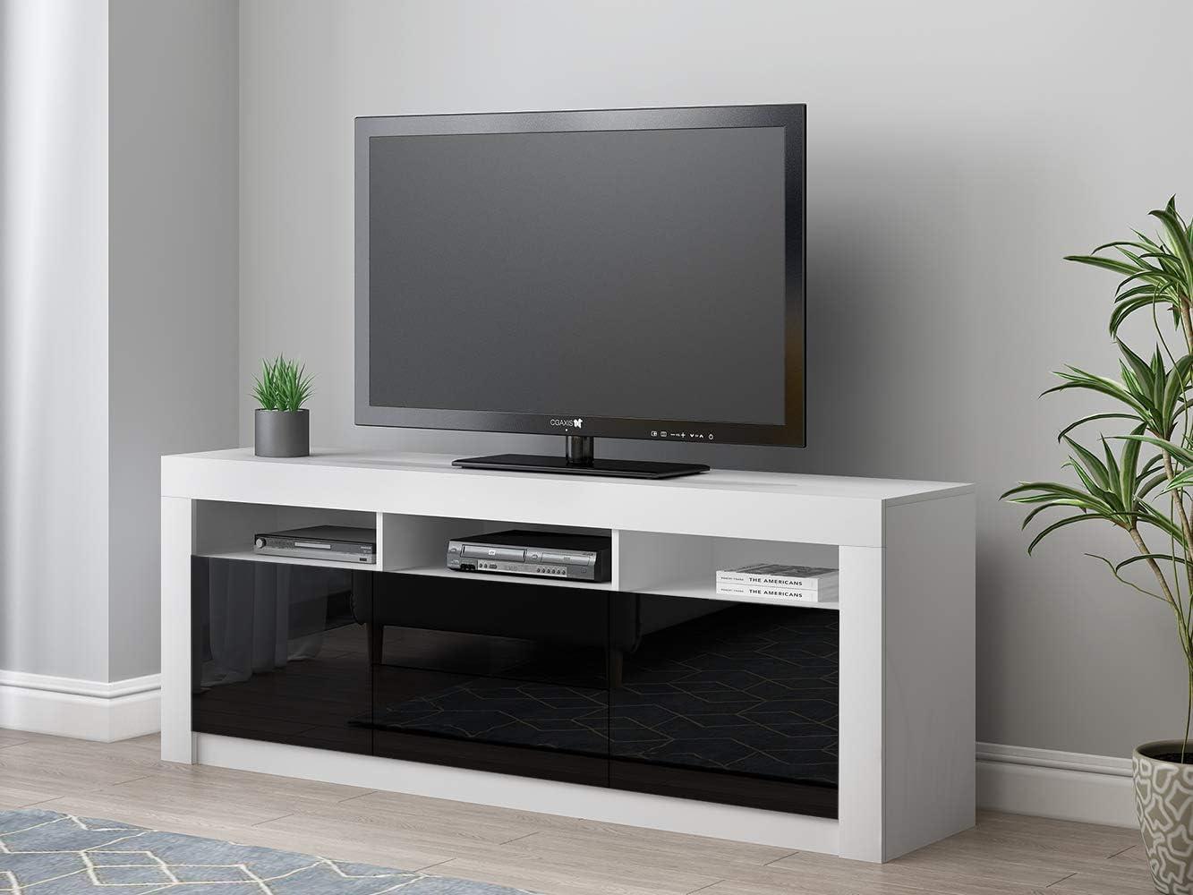 Panana RGB LED TV Cabinets, 160CM Modern TV Unit Matt Body & High Gloss Doors TV Stand For Living Room (Black) White&black