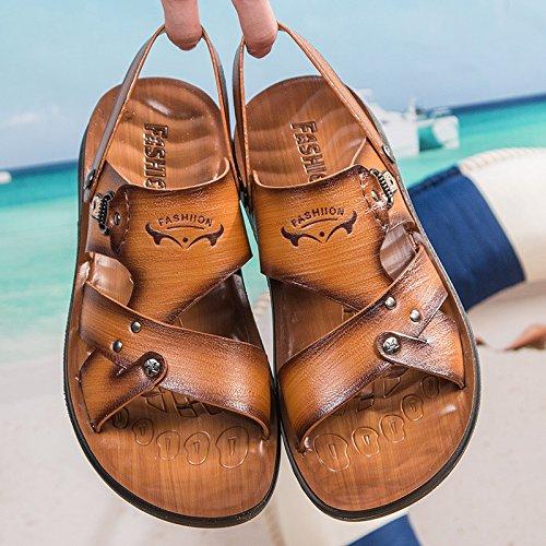 Sandali di estate degli uomini nuovi di modo degli uomini di ventilazione dei sandali di modo degli uomini Scarpe da spiaggia degli uomini sandali, giallo, UK = 7,5, EU = 41 1/3