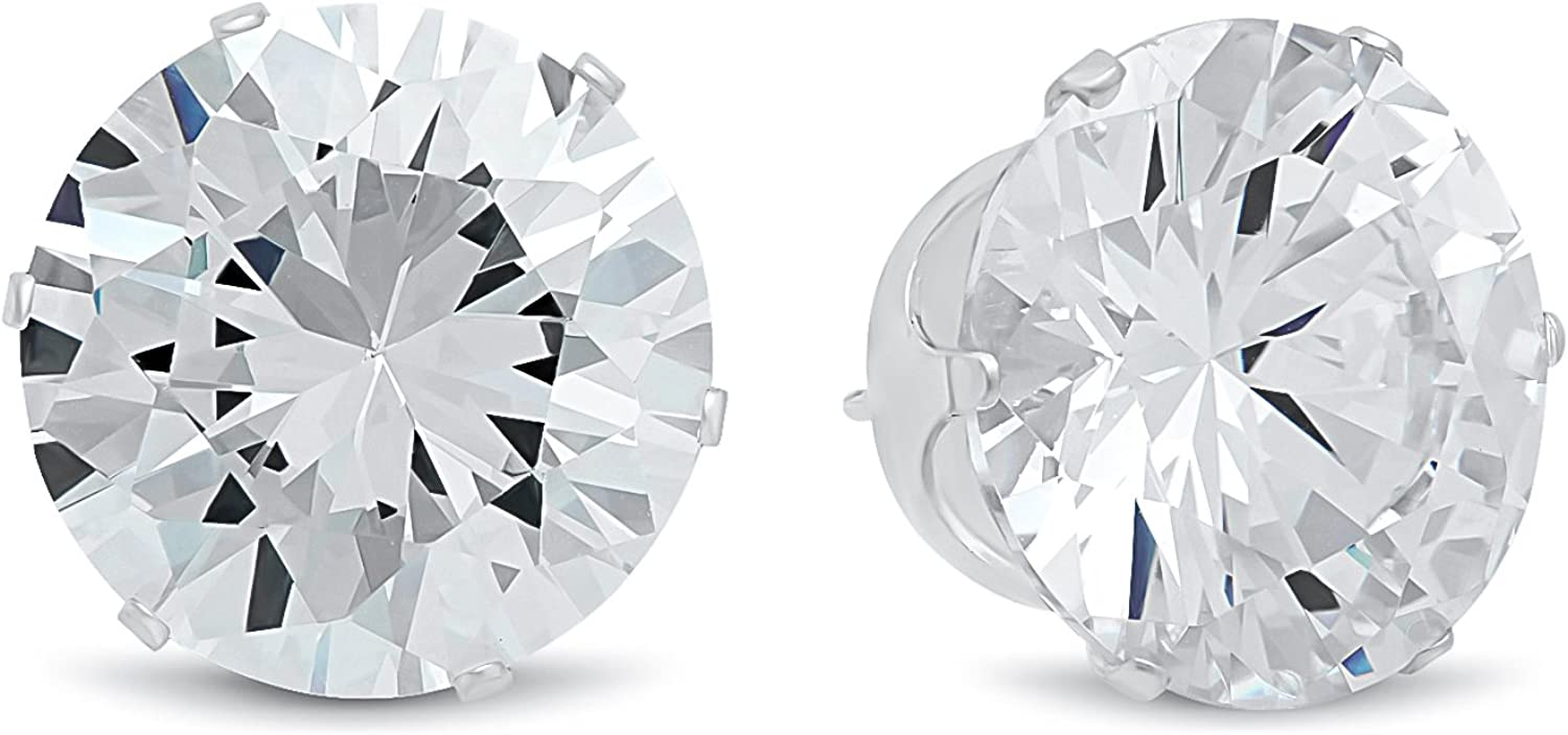 Men's 15mm Large .925 Sterling Silver Cubic Zirconia Stud Earrings, Nickel-Free - Made in Italy