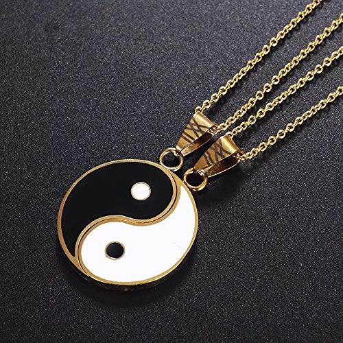 JUXINDA Stainless Steel Best Friend Puzzle Pendant 2 Piece Mens Womens Friendship Yin Yang Ucklace Pendant Couples Necklace