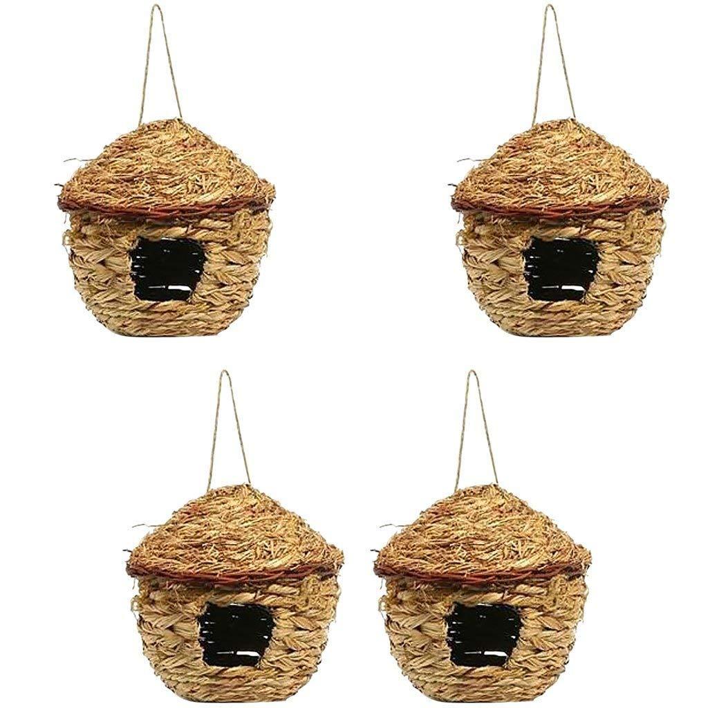 PanDaDa Lot de 4 Nid d'oiseaux en Paille Cage Suspendu Tissée à la Main Bird Nest pour Perroquet Canari Cockatiel Petit Animal Domestique - Diamètre: 11CM