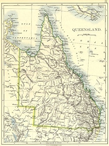 Map Queensland.Amazon Com Australia Queensland 1897 Old Map Antique Map