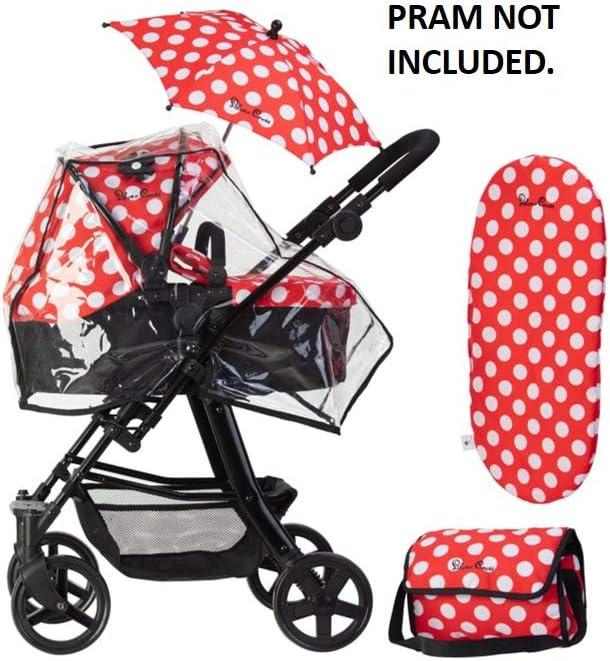 Silver Cross Paquete de Accesorios definitivo de Carrito para muñecos Tejido Red Polka Dot