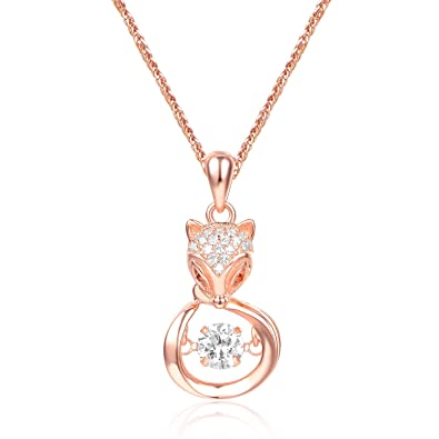 c504129c0bf18 IRVYL Sway Heart of Ocean Love Swarovski Element Crystal Diamond Fox  Pendant Necklace 18K Gold Plated