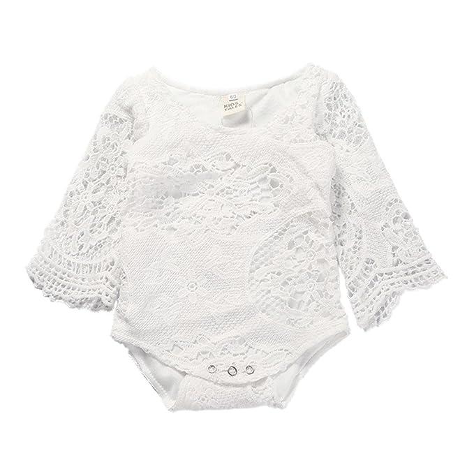 Cuentos de niños recién nacido bebé niña Body Pelele Blanco Hollow encaje de manga volantes para niña - - : Amazon.es: Ropa y accesorios