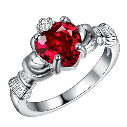 JAJAFOOK Anillo de compromiso para mujer, chapado en oro blanco, rubí rojo, circonita