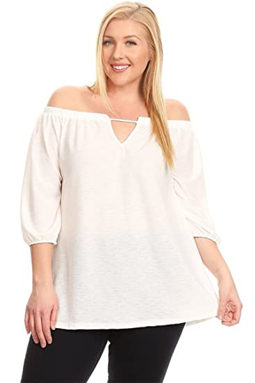 3b0d0c19cff Image Unavailable. Image not available for. Color  Price Angel Women s Plus  Size Long Sleeve T Shirts Off Shoulder Blouse Tops