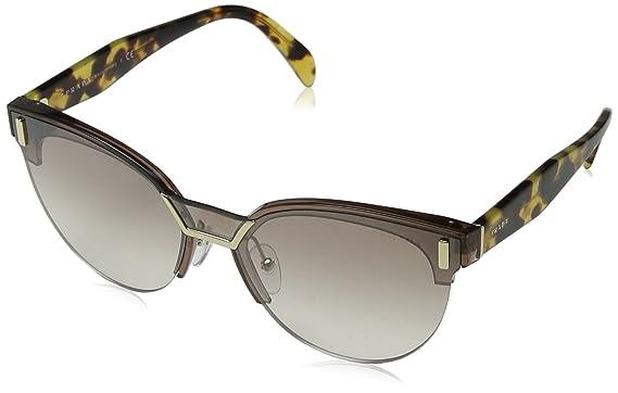 447e108b34af5 Prada Damen Sonnenbrille 0PR04US VIQ4O0 43, Braun (Transparent Brown  Silver)  Amazon.de  Bekleidung