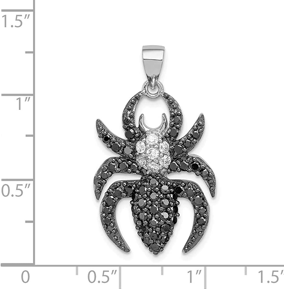 FB Jewels Solid 925 Sterling Silver Black and White Cubic Zirconia CZ Spider Pendant