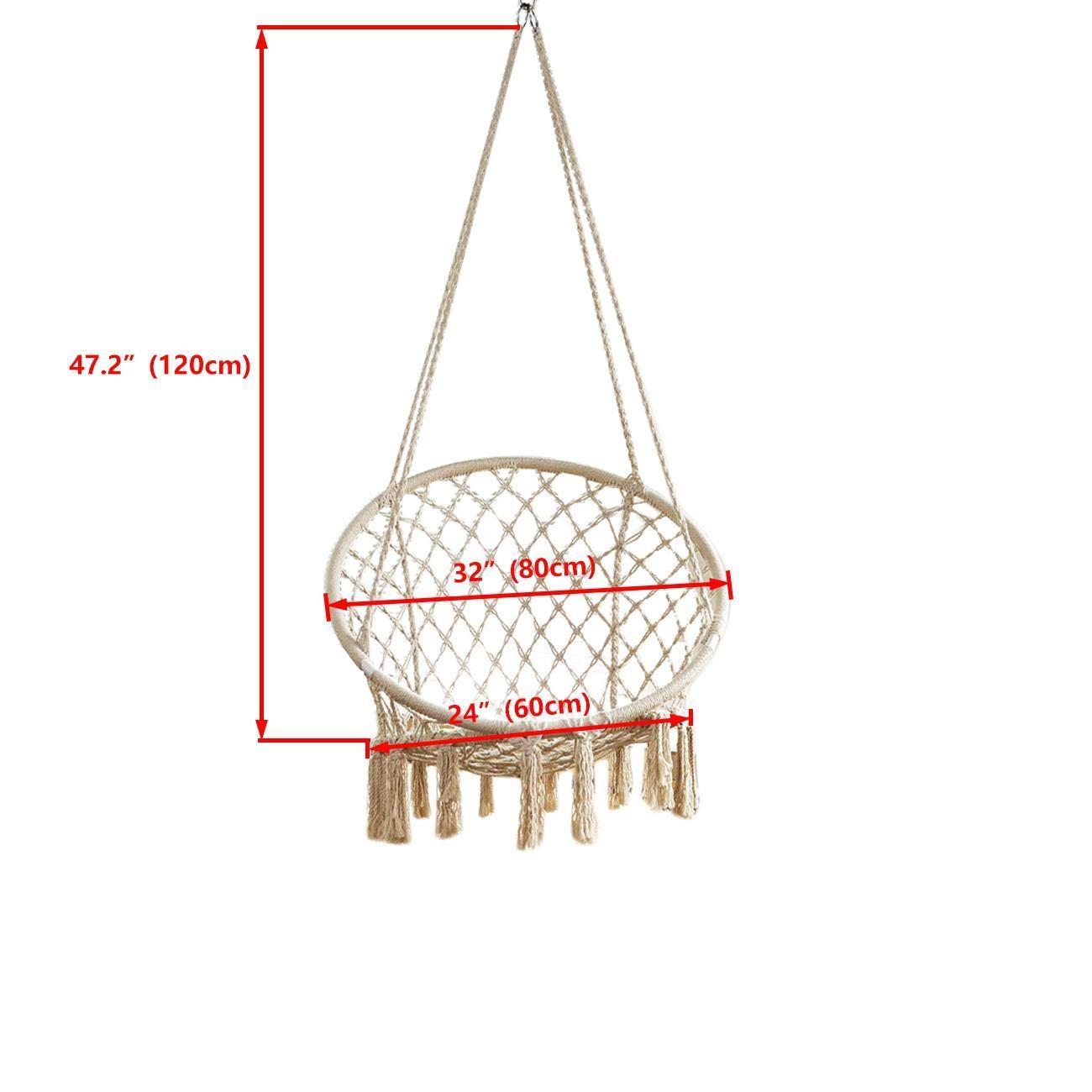 BEAMNOVA 265 lbs Capacity Hammock Chair with Hanging Hardware for Indoor Outdoor Beige by BEAMNOVA (Image #5)