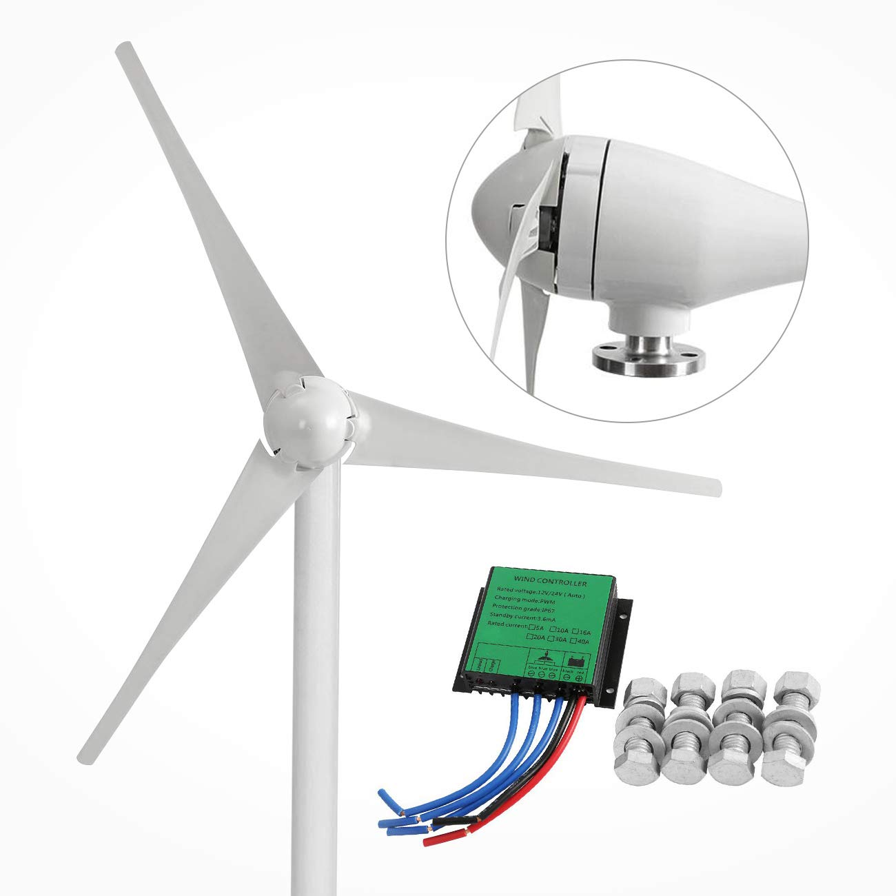 Dyna-Living Wind Turbine Generator 400W DC 12V Businesses 3 Blade with Controller for Marine RV Homes Industrial Energy