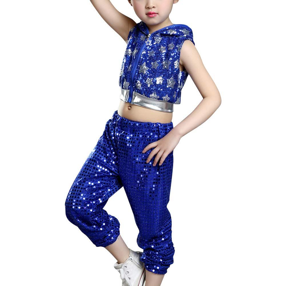 Yudesun Kids Hip-Hop Dancing Clothes - Stars Stage Performances Jazz Dancewear Blue by Yudesun