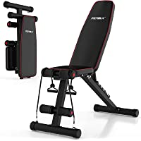 MCNBLK Adjustable Weight Bench 400lbs Capacity, Incline Decline Weight Lifting Workout Bench Home Gym, Multi-Position…
