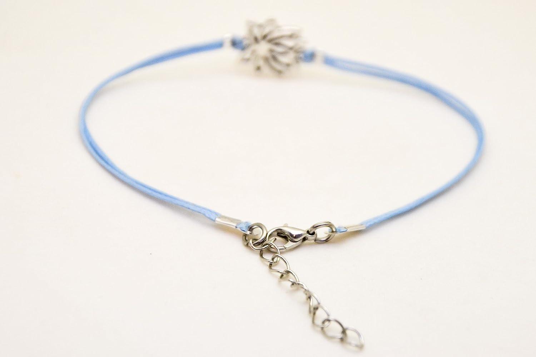 spiritual jewelry flower blue cord yoga bracelet zen flower blue ankle bracelet with silver lotus charm buddhist symbol Lotus anklet